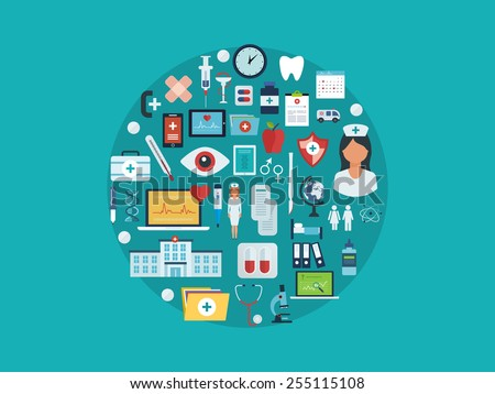 Flat design modern vector illustration concept for healthcare, medical help, medical center and hospital building, online medical services and support. All elements are presented as circle - stock vector