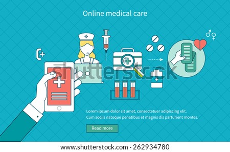 Flat design modern vector illustration concept for medical care, online medical diagnosis and first aid. Thin line icons   - stock vector