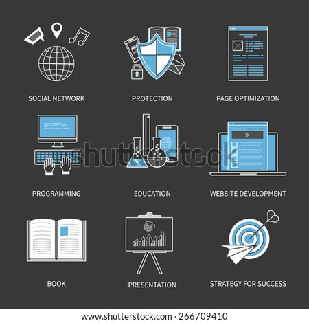 Flat design modern vector illustration concept for social network, protection, page optimization, programming, education and strategy for success. Thin line icons. - stock vector