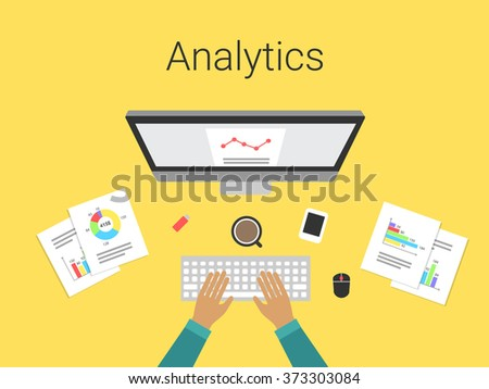 Flat design modern vector illustration concept of analytics and computing data analysis, charts and graphs. Analyst working. Isolated on stylish yellow background. - stock vector