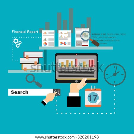 Flat design modern vector illustration concept of analyzing project, financial report and strategy, financial analytics, market research and planning documents - stock vector