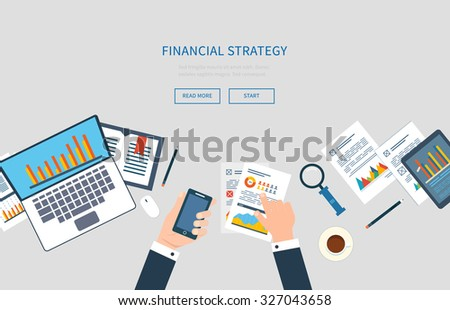 Flat design modern vector illustration concept of analyzing project, financial report and strategy, financial analytics, market research, teamwork and planning documents - stock vector