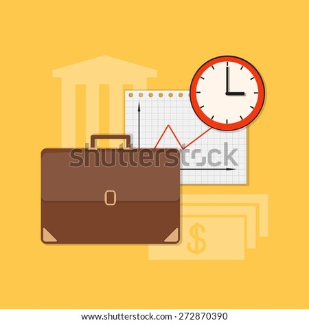 Flat design modern vector illustration concept of business, marketing, management with briefcase, clock and paper - eps10