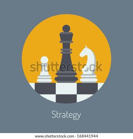 Flat design modern vector illustration concept of business strategy with chess figures on a chess board. Isolated in round shape on stylish color background - stock vector