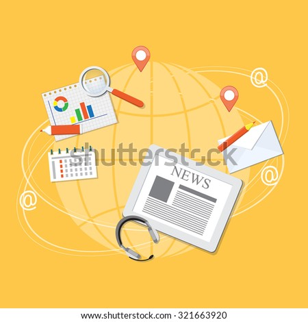 Flat design modern vector illustration concept of business webinar, on line seminar, news with tablet, headphone, pencil and loupe. EPS 10. - stock vector