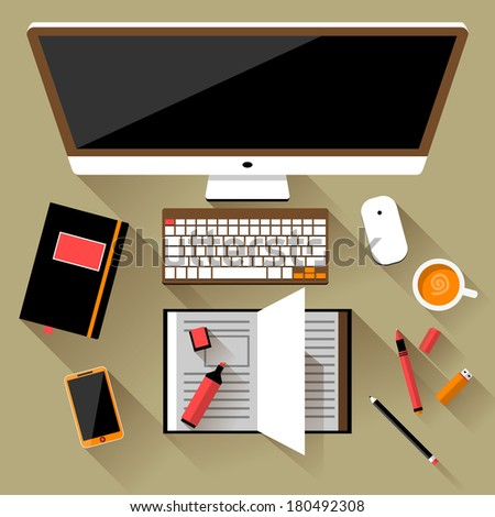 Flat design modern vector illustration concept of creative office workspace, workplace. Top view of desk background with laptop, digital devices, office objects, books, documents with long shadows - stock vector