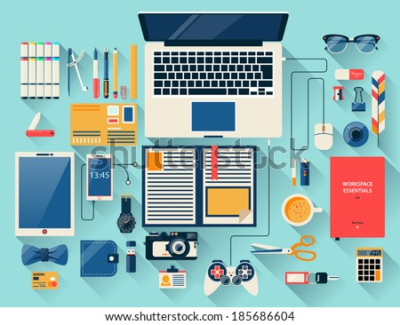 Flat design modern vector illustration concept of creative office workspace, workplace. Top view of desk background with laptop, digital devices, office objects, books and documents with long shadows. - stock vector