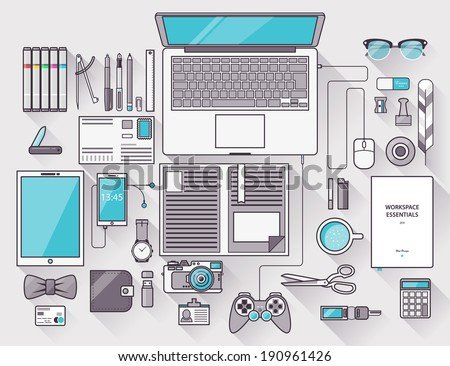 Flat design modern vector illustration concept of creative office workspace, workplace. Top view of desk background with laptop, digital devices, office objects with long shadows. Stroke, thin line.