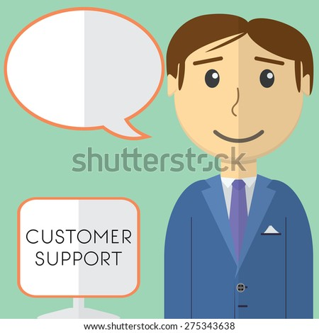 Flat design modern vector illustration concept of customer support manager with speech bubble, on color background. - stock vector