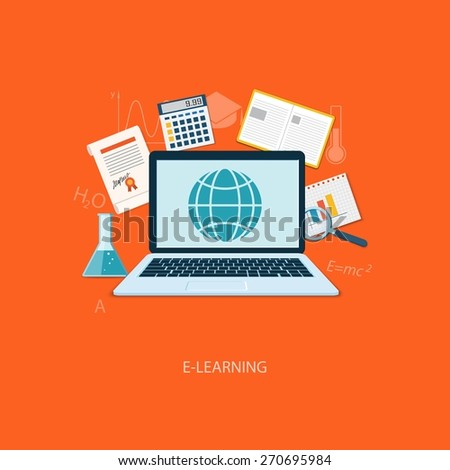 Flat design modern vector illustration concept of education, tutorials, learning with laptop - eps10 - stock vector