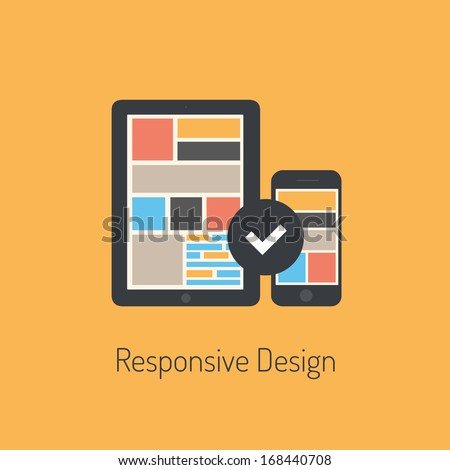 Flat design modern vector illustration concept of fully responsive user interface on digital tablet and mobile phone. Isolated on stylish colored background - stock vector