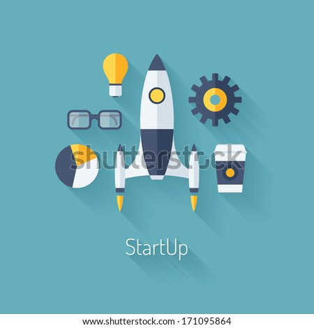 Flat design modern vector illustration concept of new business project startup development and launch a new innovation product on a market. Isolated on stylish color background - stock vector
