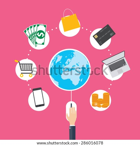 Flat design modern vector illustration concept of pay per click internet - stock vector