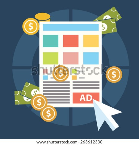 Flat design modern vector illustration concept of pay per click internet advertising model when the ad is clicked. Isolated on stylish background. - stock vector