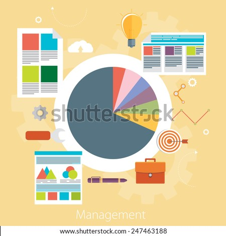 Flat design modern vector illustration concept of poster on business management or finance workflow theme. Isolated on stylish color background. - stock vector