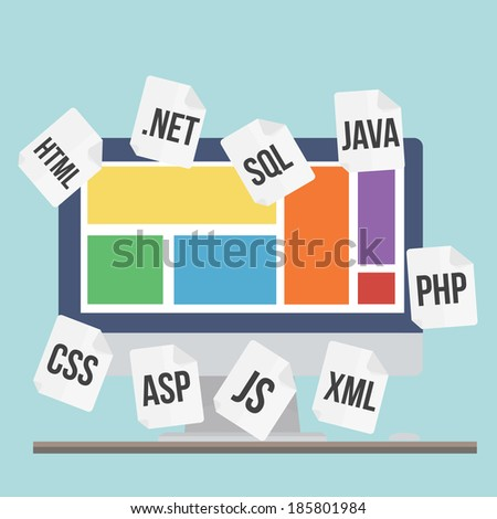 Flat design modern vector illustration concept of process web page coding and programming   - stock vector