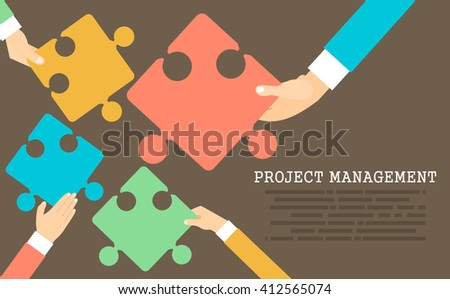 Flat design modern vector illustration concept of project management .Concepts web banner and printed materials. - stock vector