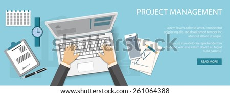 Flat design modern vector illustration concept of project management - eps10 - stock vector