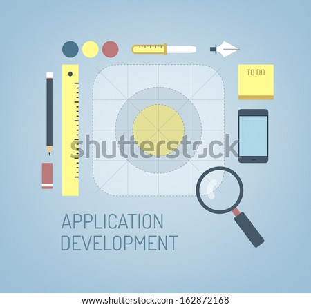 Flat design modern vector illustration concept of search, creation and development process a new ios application icon for mobile interface. Isolated on stylish color background - stock vector