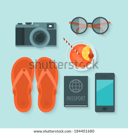 Flat design modern vector illustration concept of summer holiday icons - stock vector