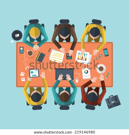 Flat design modern vector illustration concept of teamwork analyzing project on business meeting  - stock vector