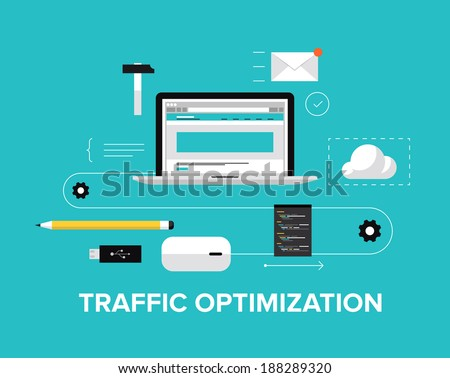 Flat design modern vector illustration concept of the website traffic optimization service, webpage coding and conversion growth strategy, web site optimize and content develop. Isolated on background - stock vector