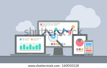 Flat design modern vector illustration concept of website analytics search information and computing data analysis using modern electronic and mobile devices. Isolated on stylish grey background - stock vector