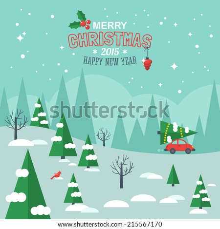 Flat design modern vector illustration for Christmas holiday. Merry Christmas greeting card design - stock vector