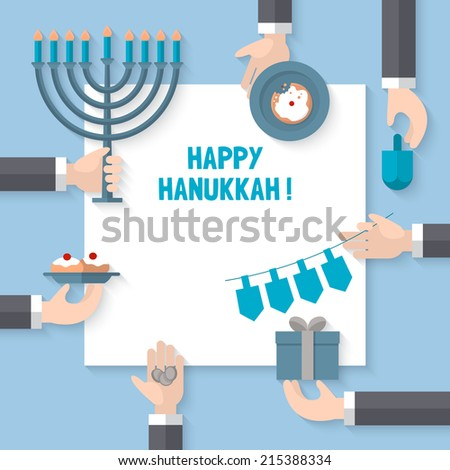 Flat design modern vector illustration for Hanukkah holiday celebration - stock vector