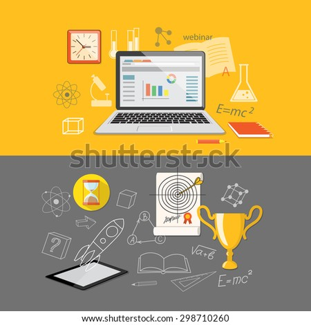 Flat design modern vector illustration  for higher school, university, online education, e-learning, business  studying, training, webinar with tablet, laptop, winner cup, clock and target  - eps 10 - stock vector