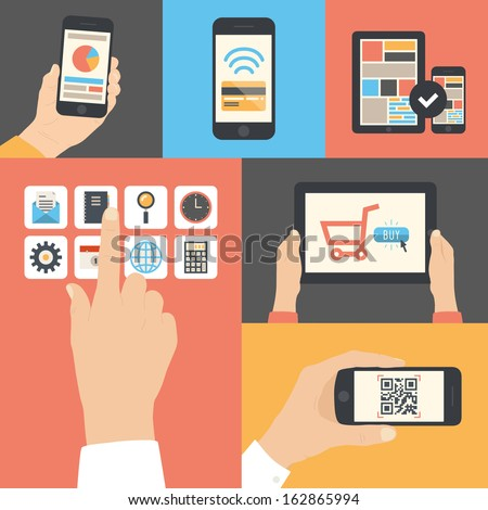 Flat design modern vector illustration icons in stylish colors of hand touch screen with business icons, mobile phone scanning qr-code, online purchase on digital tablet and wireless e-commerce usage. - stock vector