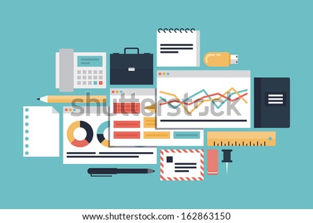 Flat design modern vector illustration icons set of business productivity development, office various objects and equipment and market process with diagram and charts. Isolated on stylish background - stock vector