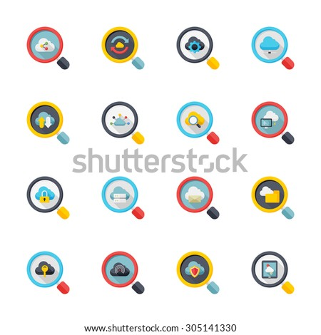Flat design modern vector illustration icons set of cloud network in stylish colors. - stock vector