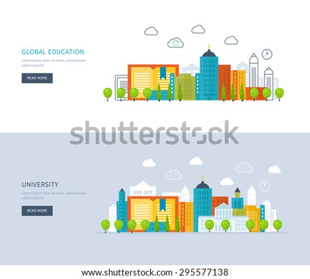 Flat design modern vector illustration icons set of global education, online training courses, staff training, university, tutorials. School and university building icon. Urban landscape.
