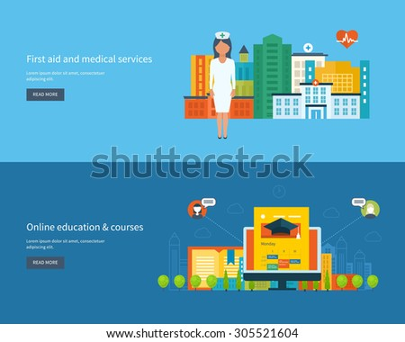 Flat design modern vector illustration icons set of global education, online training courses, university, tutorials, healthcare, medical center and hospital building. Urban landscape.  - stock vector