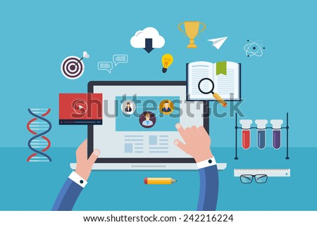Flat design modern vector illustration icons set of online education and and e-learning. User choose online course. Online course proposes  video-on-demand, forum, communication. - stock vector