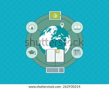 Flat design modern vector illustration icons set of online education and e-learning. Online course from universities and colleges proposes video-on-demand, forum, communication.  - stock vector