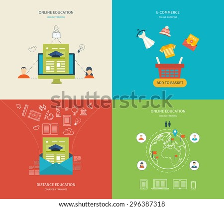 Flat design modern vector illustration icons set of online education, e-learning and training, e-commerce and online shopping. Symbols of online shop, payment, customer service and delivery - stock vector