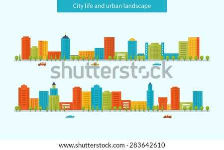 Flat design modern vector illustration icons set of urban landscape and city life. Buildings colorful icons - stock vector