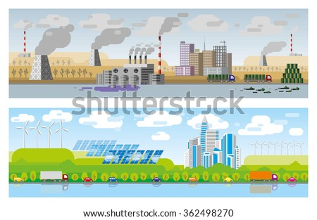 Flat design modern vector illustration icons set of urban landscape and city life. Environmental problem of the earth - stock vector