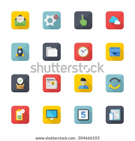 Flat design modern vector illustration icons set of web and mobile concept in stylish colors.