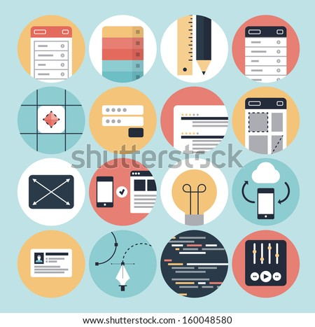 Flat design modern vector illustration icons set of web development process, mobile interface design application and graphic design sketching objects. Isolated on stylish turquoise background. - stock vector