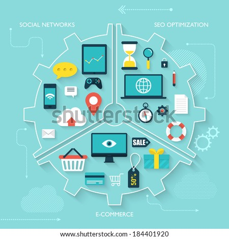 Flat design modern vector illustration infographics for web, mobile applications, optimizations, business, social networks and marketing - stock vector