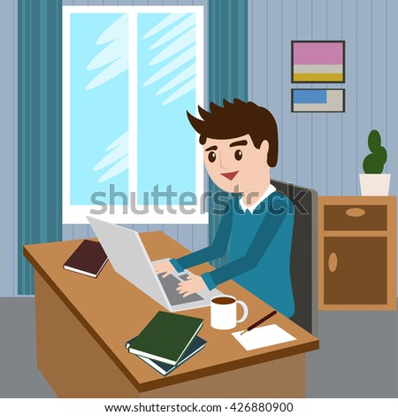 Flat design modern vector illustration lifestyle concept of handsome man in casual T-shirt sitting at the desk and working on laptop in the office. Isolated on stylish colored background - stock vector