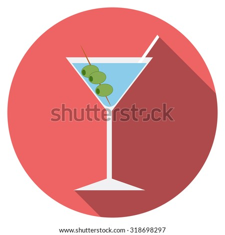 Flat design modern vector illustration of cocktail icon with long shadow, isolated.