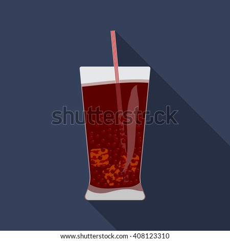Flat design modern vector illustration of cold drink icon with long shadow.
