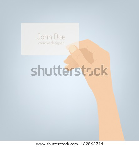 Flat design modern vector illustration of hand holding and showing stylish creative business card with personal identity information. Isolated on light gray textured background. - stock vector