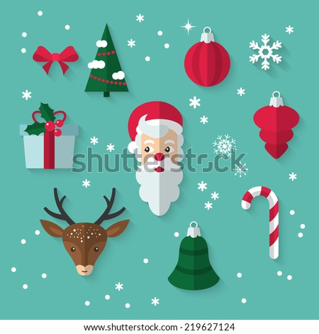 Flat design modern vector illustration of icons for Christmas and New Year - stock vector