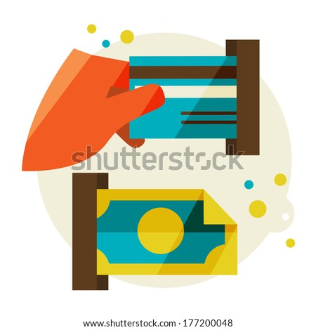 Flat design modern vector illustration stylish colors of hand holding a business card and hand holding a coin  - stock vector