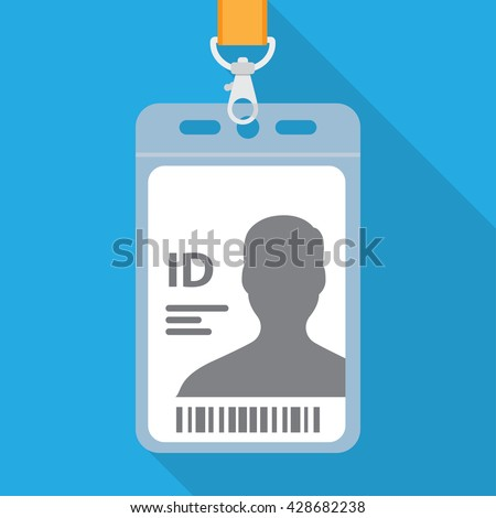 Flat design name tag badge template with shadow - stock vector